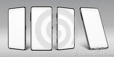 Realistic smartphone mockup. Cellphone frame with blank display isolated templates, phone different views. Vector mobile