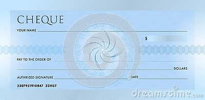 Check template, Chequebook template. Blank blue business bank cheque with guilloche pattern rosette and abstract