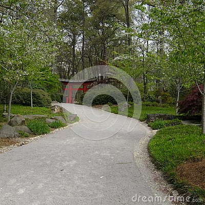 Large Pathway Leading to a Japanese Garden Entrance