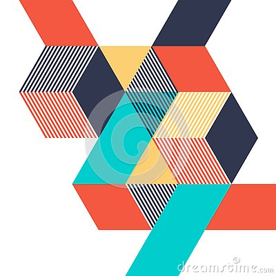 Abstract geometric isometric shape layout design template background modern art style