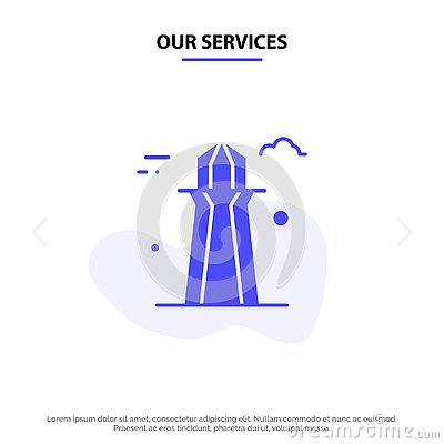 stock image of our services canada, co tower, canada tower, building solid glyph icon web card template