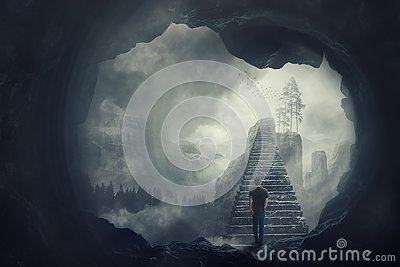 Surreal view as a man escape from a dark cave climbing a mystic stairway crossing the misty abyss going up to unknown paradise