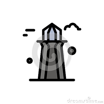 stock image of canada, co tower, canada tower, building  flat color icon. vector icon banner template