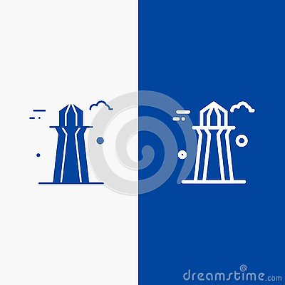 stock image of canada, co tower, canada tower, building line and glyph solid icon blue banner line and glyph solid icon blue banner