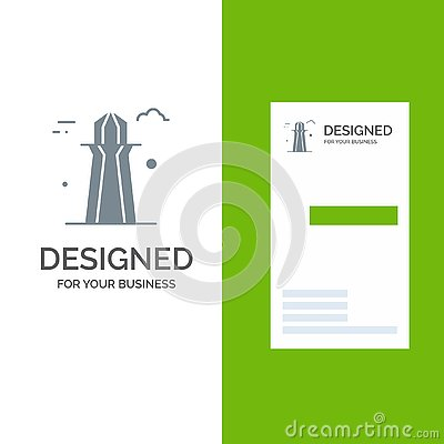 stock image of canada, co tower, canada tower, building grey logo design and business card template