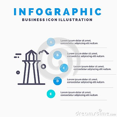 stock image of canada, co tower, canada tower, building line icon with 5 steps presentation infographics background