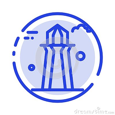 stock image of canada, co tower, canada tower, building blue dotted line line icon