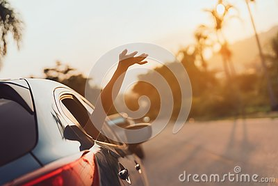Hatchback Car travel driving road trip of woman summer vacation