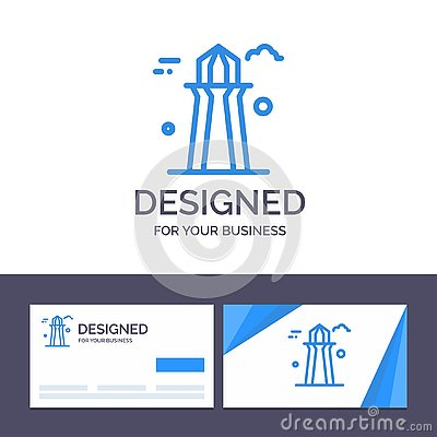stock image of creative business card and logo template canada, co tower, canada tower, building vector illustration