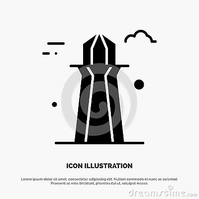 stock image of canada, co tower, canada tower, building solid glyph icon vector