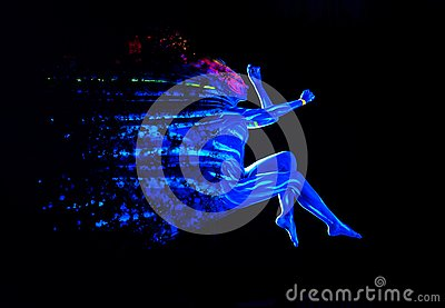 Ultraviolet black light glowing bodyart on young woman`s body. Dispersing girl on black background. Art creative concept