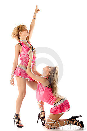 Two beautiful dancer girl in pink isolated