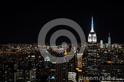 New York skyline from top of the rock at night