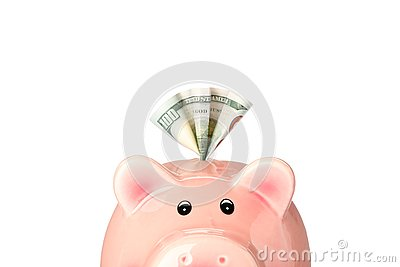 Happy piggy bank with money isolated on white background, closeup