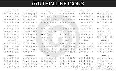 Big collection of 576 thin line icon. Web icons. Business, finance, seo, shopping, logistics, medical, health, people, teamwork,