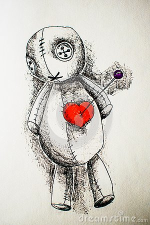 Illustration of voodoo doll with black handle with heart