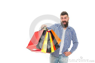 Consumer protection concept. Man happy consumer hold shopping bags. Buy and sell. Consumer protection laws ensure rights