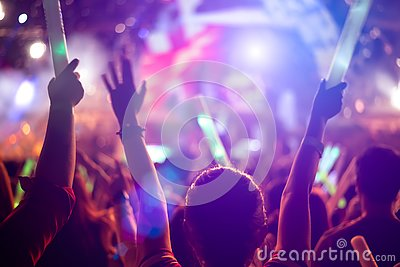 Rock concert party event. Music festival and Lighting stage concept. Youth and Fan club concept. People  and Lifestyle theme. Live