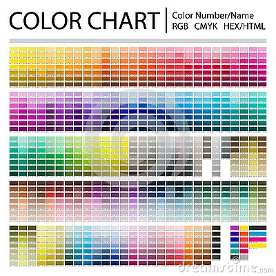 Color Chart. Print Test Page. Color Numbers or Names. RGB, CMYK, Pantone, HEX HTML codes. Vector color palette