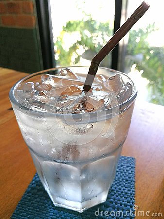 Pure water with ice in a glass