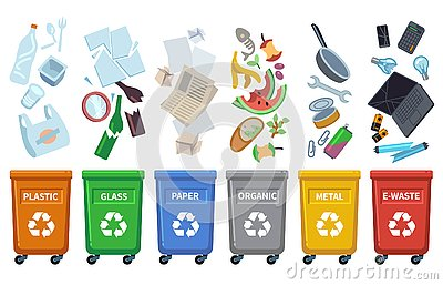 Recycle waste bins. Different trash types color containers sorting wastes organic trash paper can glass plastic bottle