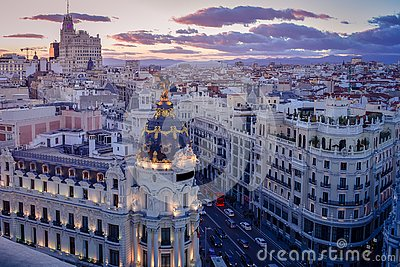 Downtown areal view of Madris from the Circulo de Bellas Artes at sunset with colourful sky, Spain
