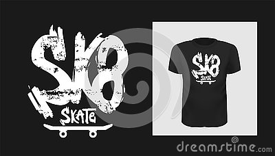 Tshirt sk8 slogan design. T shirt quote print with a phrase skate board. Vector template in modern lettering