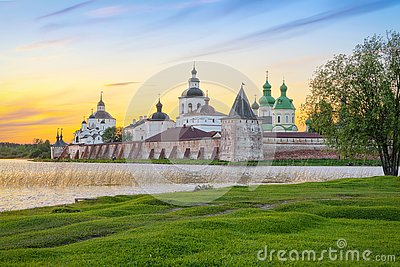 View of Cyril-Belozersky Monastery on sunset, Kirillov, Russia
