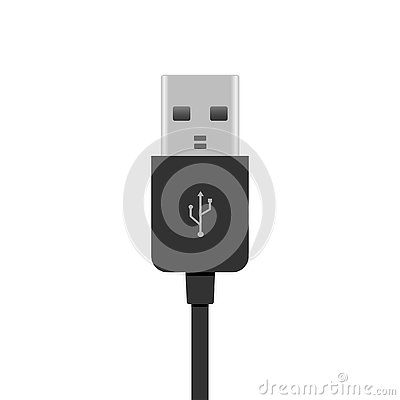 Realistic USB cable isolated on white. Vector