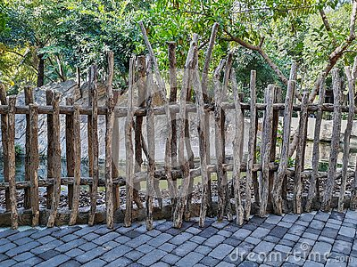 Fencing with dry wood logs