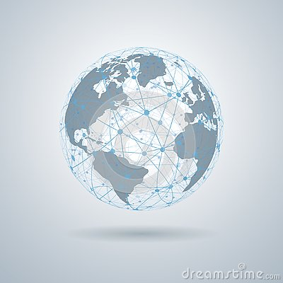 Global tech concept, Network connection, 3D Globes with World Maps – vector