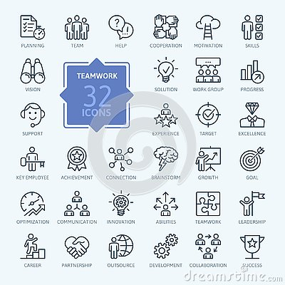 Business teamwork, team building, work group and human resources - minimal thin line web icon set.