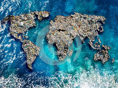 Continents earth are made up of garbage, surrounded by ocean water. Concept environmental pollution with plastic and