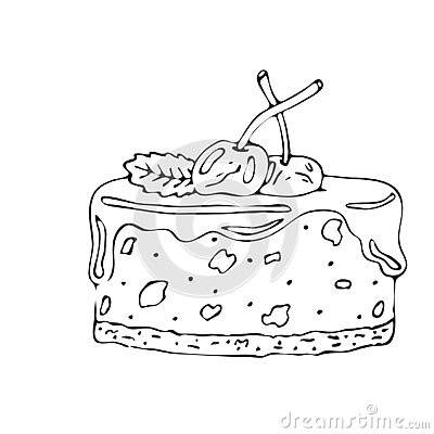 Food coloring page with cake or cupcake, candy