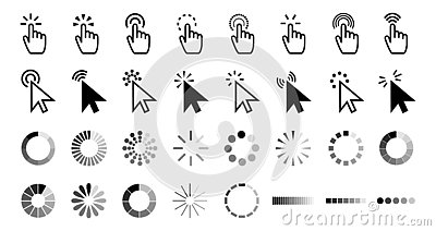Pointer click icon. Clicking cursor, pointing hand clicks and waiting loading icons vector collection