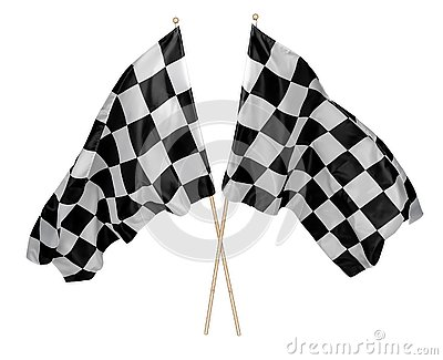 Two crossed pair of waving black white chequered flag with wooden stick motorsport sport racing concept isolated background