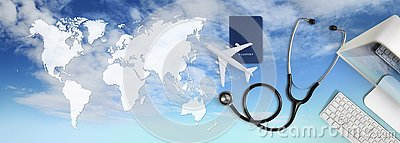 International medical travel insurance concept,stethoscope, passport, computer and airplane in sky background with global map