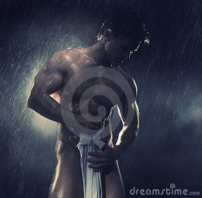 Bodybuilder with white towel