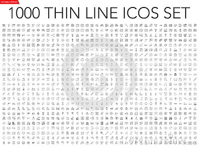 Set of 1000 thin line icons