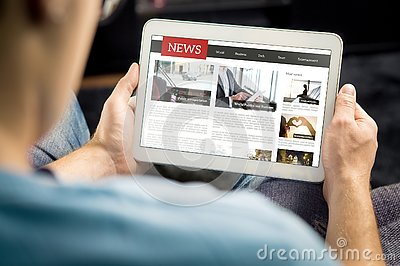 Online news article on tablet screen. Electronic newspaper or magazine. Latest daily press and media. Mockup of digital portal.