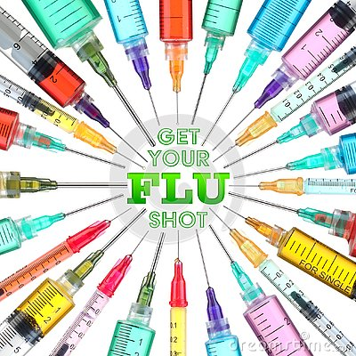 Bright and colorful syringes - Get your FLU shot