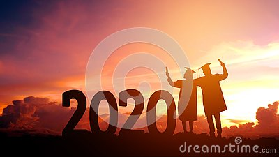 2020 New year Silhouette people graduation in 2020 years education congratulation concept ,Freedom and Happy new year