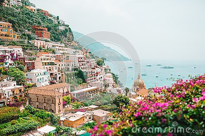 View of the town of Positano with flowers