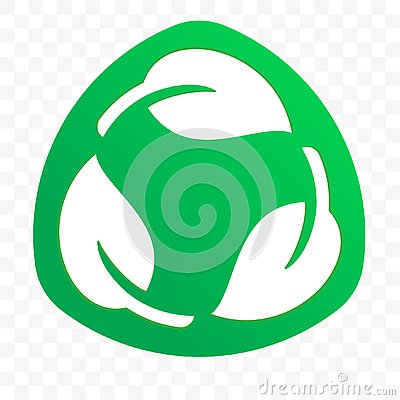 Biodegradable recyclable plastic free package label vector icon. Eco safe bio recyclable and degradable packaging logo