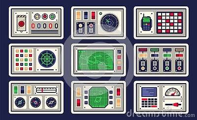 Control panel in spaceship with all kinds of controls