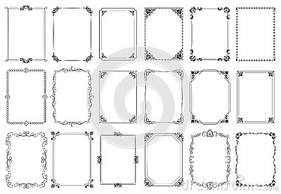 Decorative frames. Retro ornamental frame, vintage rectangle ornaments and ornate border vector set