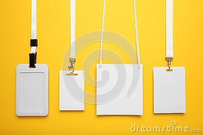 Set of name tags, vip pass id, badge and lanyard. Event blank on yellow background
