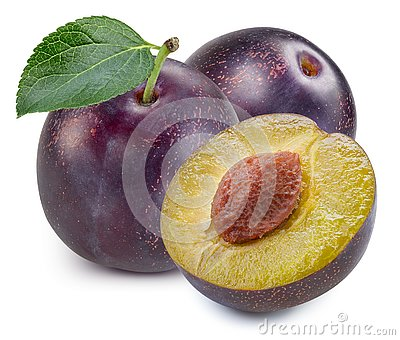 Plums half with leaves isolated