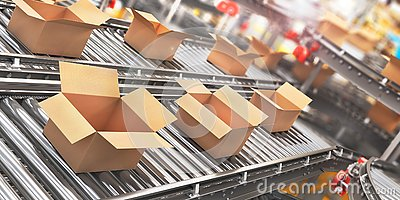 Conveyors with cardboard boxes