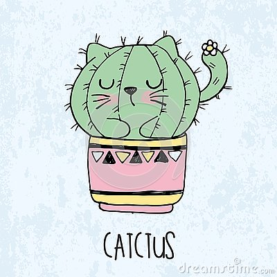 Vector illustration of hand drawn sketch cute kawaii cat cactus in a flowerpot in anime style with lettering catctus